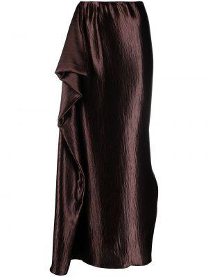 Коричневая шелковая с завышенной талией юбка макси Sies Marjan