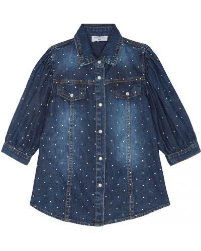 Джинсовая рубашка с воротником со стразами Monnalisa