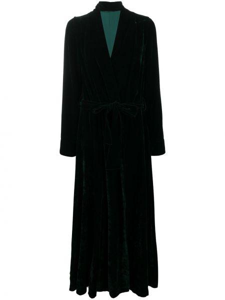 Бархатное зеленое длинное пальто с вырезом Gilda & Pearl