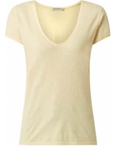Żółty t-shirt bawełniany Drykorn