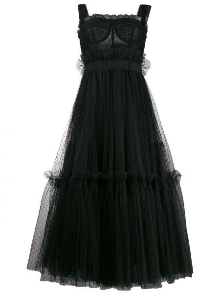 Платье миди в горошек на бретелях Dolce & Gabbana
