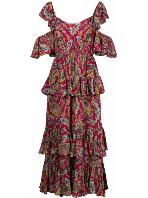 Платье миди с принтом с вырезом с оборками Cinq À Sept