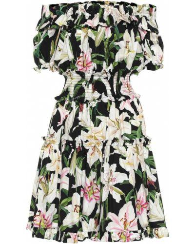 Летнее платье через плечо из поплина Dolce & Gabbana