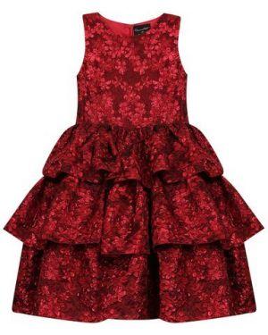 Платье с рукавами из фатина из парчи Oscar De La Renta
