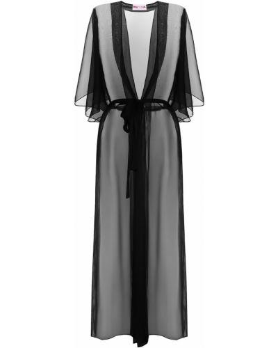 С рукавами черный халат прозрачный Petra