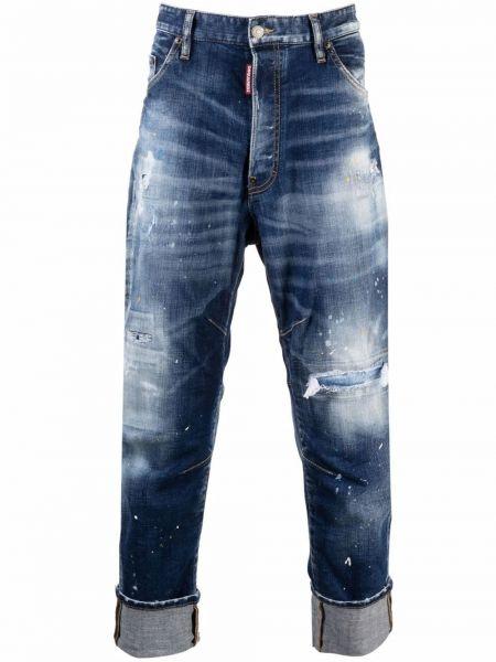 Синие укороченные джинсы Dsquared2