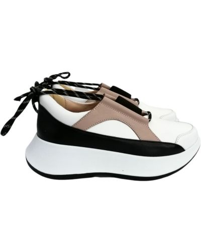 Кожаные кроссовки - белые Carvallio