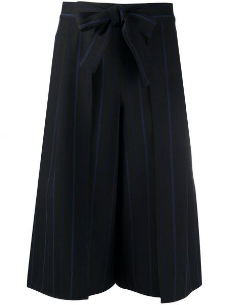 Хлопковые черные укороченные брюки с поясом See By Chloé