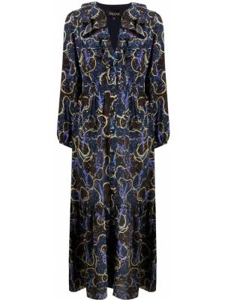 Платье миди на пуговицах синее Saloni