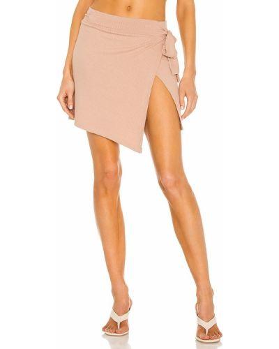 Светло-розовая кожаная юбка для полных Lna