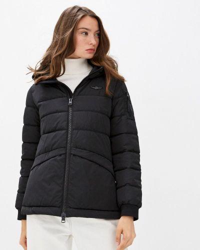 Теплая черная утепленная куртка Aeronautica Militare