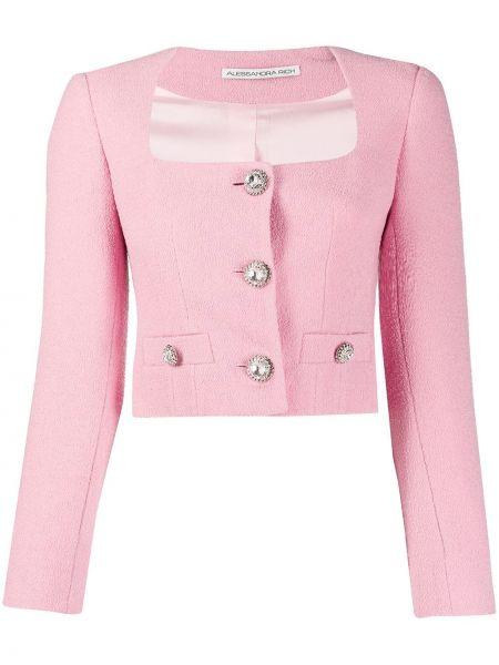 Шерстяной розовый пиджак на пуговицах Alessandra Rich