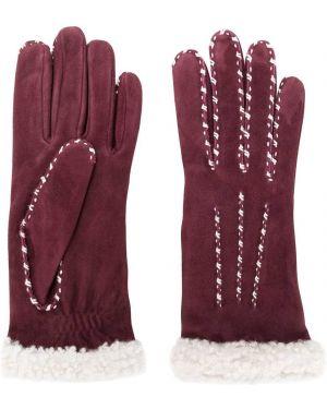 Красные шелковые кожаные перчатки Agnelle