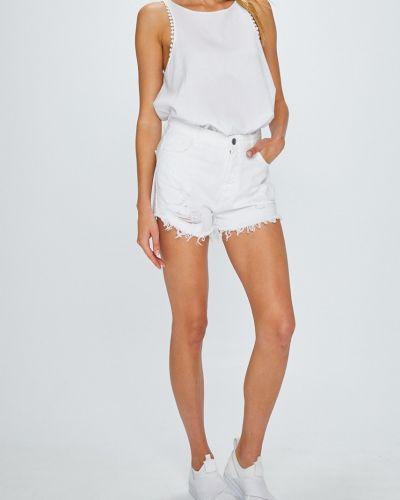 Джинсовые шорты с завышенной талией белые Answear