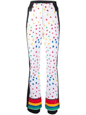 Приталенные белые брюки с полоской по бокам в горошек Rossignol