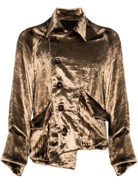 Beżowa kurtka asymetryczna z raglanowymi rękawami Sulvam