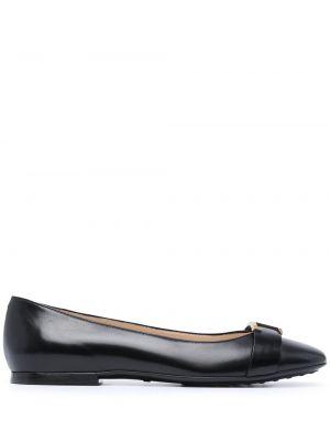 Черные кожаные туфли круглые Tods