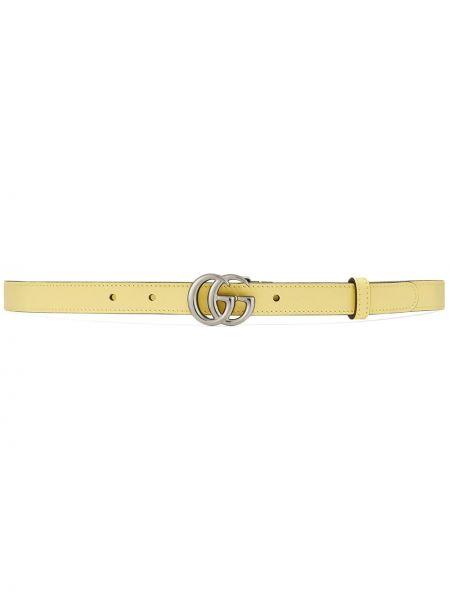 Желтый кожаный ремень с пряжкой Gucci
