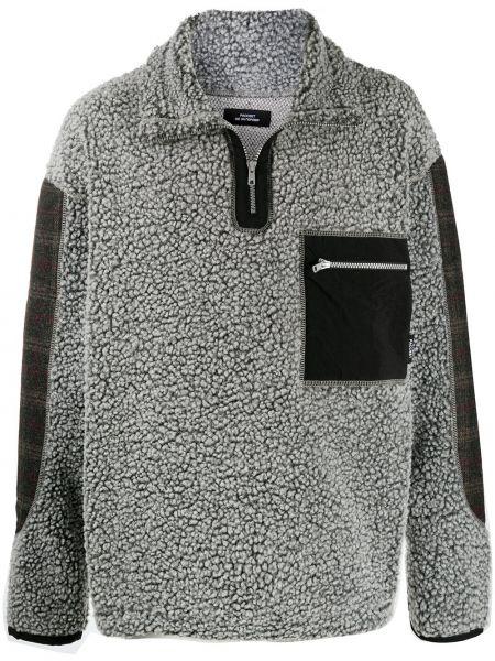 Wełniany z rękawami pulower z kieszeniami z łatami Paccbet