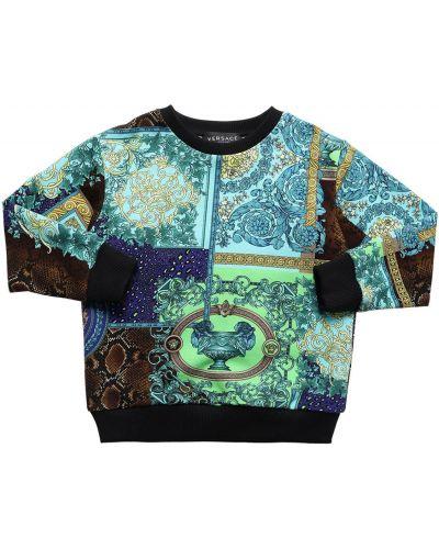 Bawełna bawełna bluza z kołnierzem z mankietami Versace