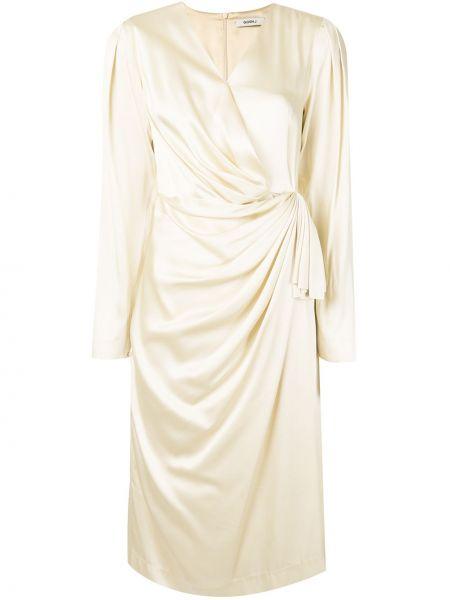 Белое платье миди с запахом с V-образным вырезом с драпировкой Goen.j