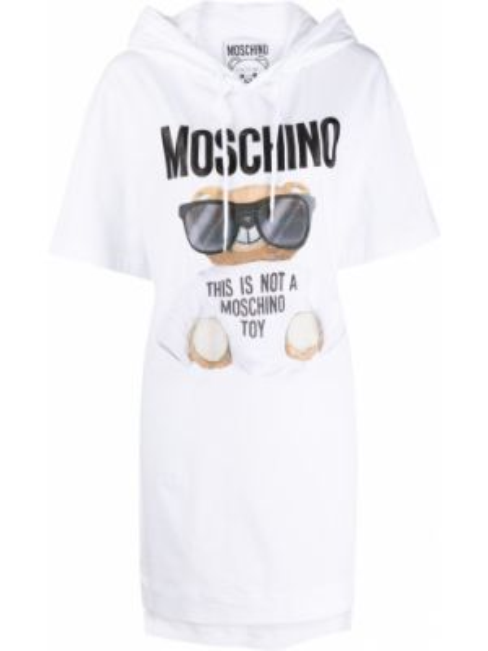 Трикотажное белое платье мини свободного кроя Moschino