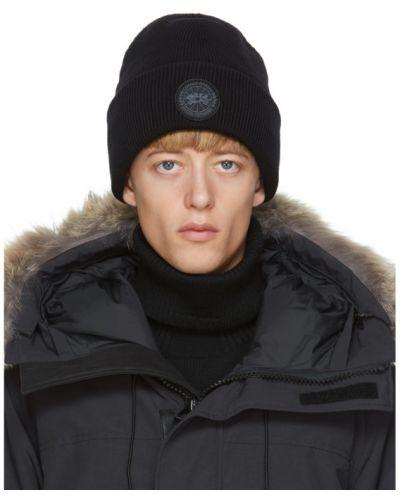 Шерстяная черная шапка бини с аппликациями Canada Goose