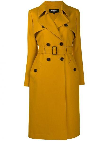 Шерстяное пальто классическое двубортное с воротником Paule Ka