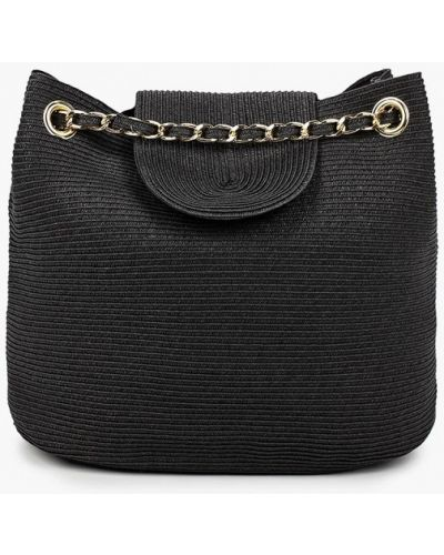 Соломенная пляжная черная сумка Fabretti