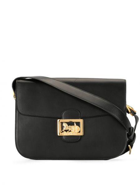 Кожаная черная сумка через плечо на молнии с карманами Céline Pre-owned