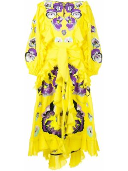 Фиолетовое льняное платье с вышивкой с воротником Yuliya Magdych