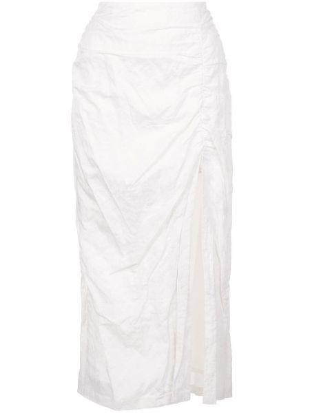 Шелковая юбка миди узкого кроя в рубчик с драпировкой Jason Wu Collection