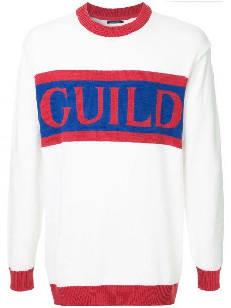 С рукавами белый акриловый свитер в рубчик Guild Prime