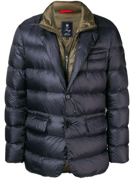 Пуховая синяя куртка с перьями Fay