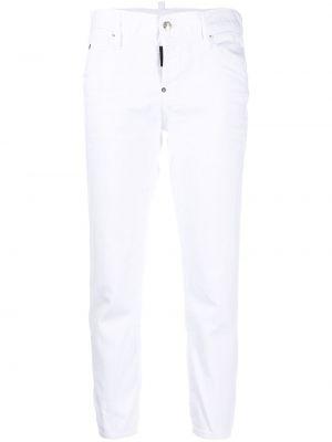 Хлопковые белые укороченные джинсы с низкой посадкой на молнии Dsquared2