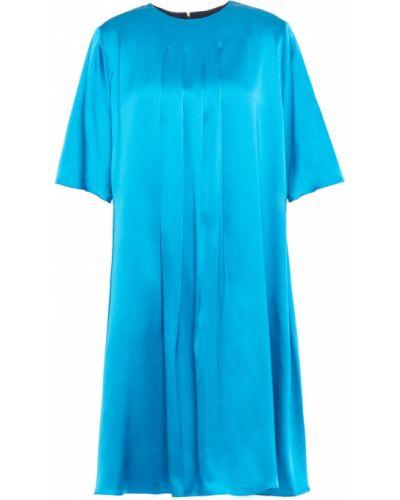 Satynowa sukienka mini turkusowa Roksanda