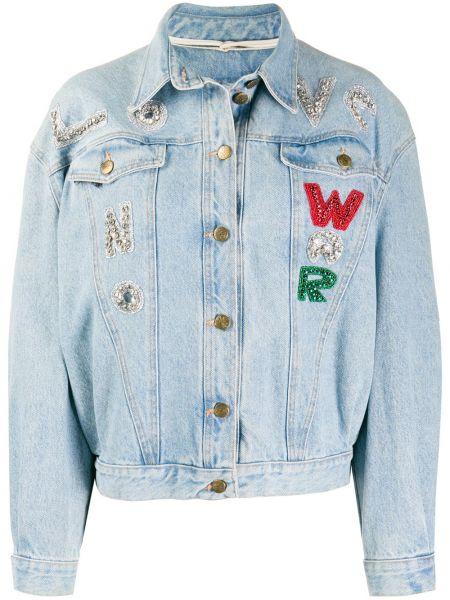 Синяя джинсовая куртка винтажная с воротником A.n.g.e.l.o. Vintage Cult