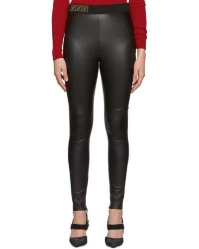 Кожаные черные брюки дудочки с манжетами Fendi