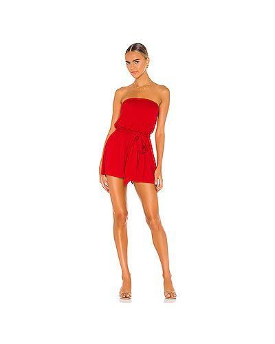 Красный нейлоновый комбинезон с поясом Susana Monaco