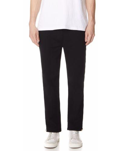 Czarny ciepły klasyczne spodnie z mankietami z haftem Polo Ralph Lauren