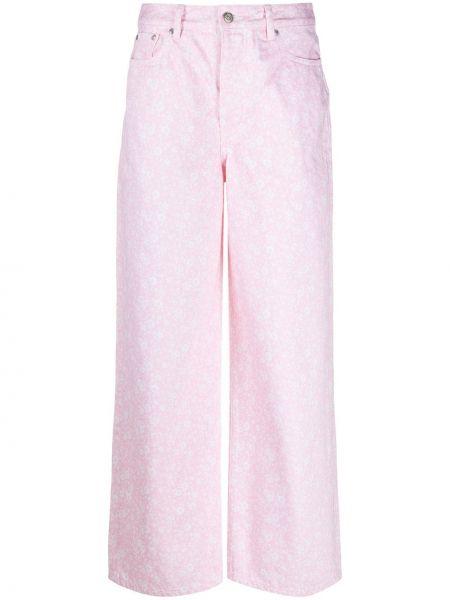 Хлопковые розовые свободные широкие джинсы свободного кроя Ganni