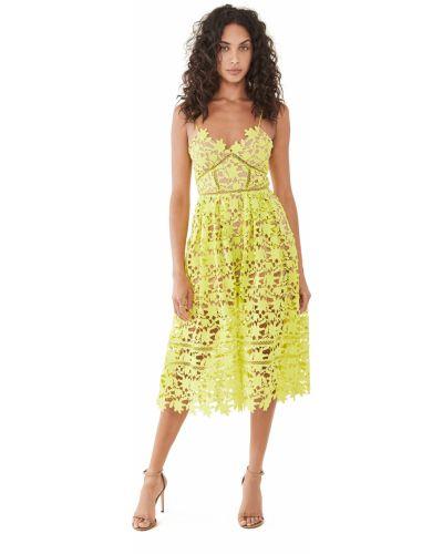 Гипюровое зеленое кружевное платье миди Self-portrait