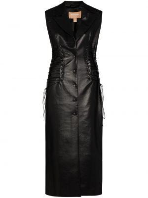 Черное кожаное платье Matériel