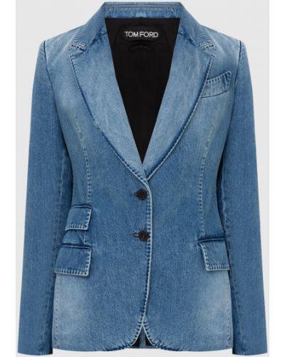 Синий джинсовый пиджак Tom Ford