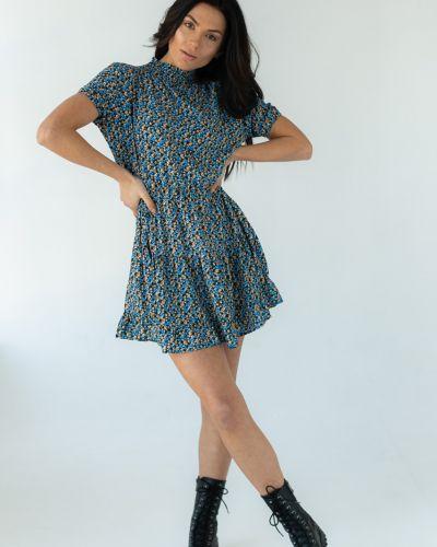 Платье с люрексом с оборками с короткими рукавами Clew