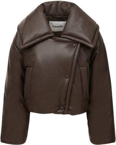 Кожаная куртка - коричневая Nanushka
