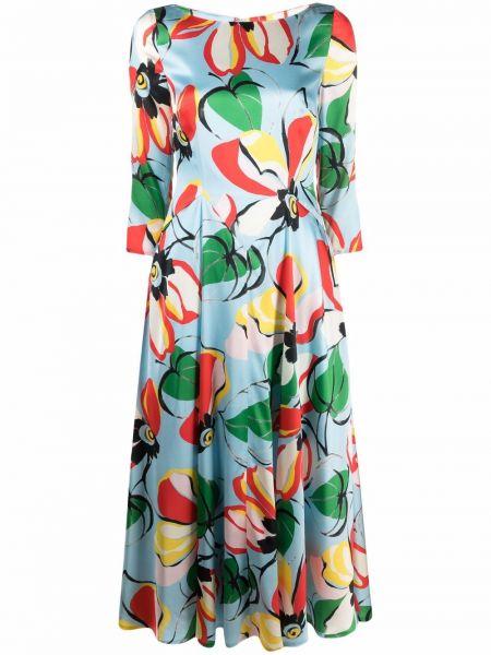 Шелковое платье миди - синее Talbot Runhof
