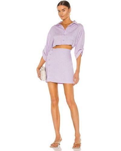 Фиолетовое платье рубашка из вискозы на пуговицах Bardot