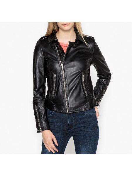 Черная кожаная куртка на молнии с воротником с подкладкой Oakwood