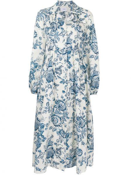 Прямое белое платье миди с длинными рукавами Erdem